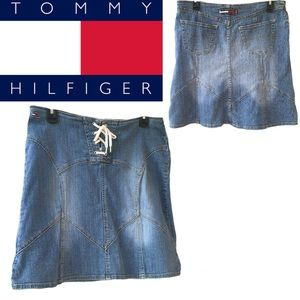 Tommy Jeans Lace Up Fit N' Flare Denim Skirt 9